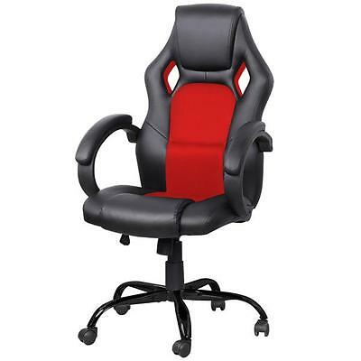 Red Executive Racing Office Chair PU Leather Swivel Computer Desk Seat High Back