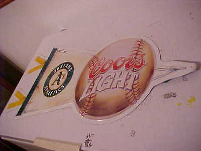 "Oakland Athletics A's Pennant Coors Light LARGE Metal Beer Sign, USED, 32"" long"