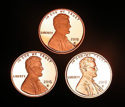 2015 2016 2017 S Lincoln Shield Cent Set Gem Proof US 3 Coin Lot.