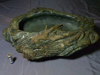 Antique Bonsai Footed Suiban Oval Pot Tray Stone Craft Dragon Sculpture Oriental