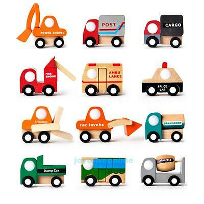 Creative Mini Vehicle Car Wooden Toys Baby Kids Early Learning Educational Gifts