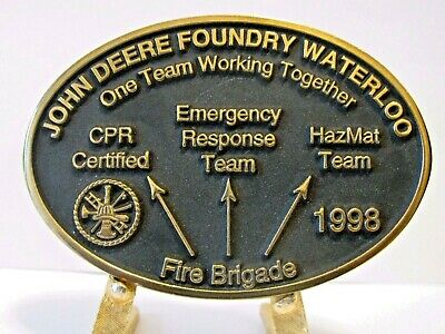 John Deere Foundry Waterloo FIRE BRIGADE ERT Hazmat Belt Buckle 1998 Employee