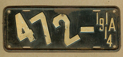 Vintage Original 1914 Iowa IA Motorcycle License Plate, Slant Letter #472