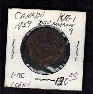 1859 Canada One Cent  large Penny coin # KM 1 UNC narrow 9