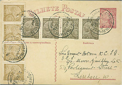 1936 Goa  Portugese India Postcard Cover to London New Years Day Card