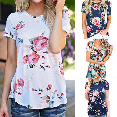 Fashion Womens Short Sleeve Floral Print Summer Blouse Casual Tops Loose T Shirt