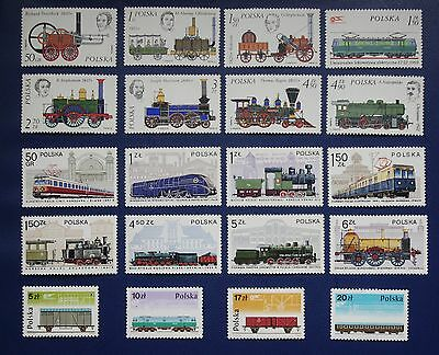 POLAND- 1976 - 1985 RAILWAYS 3 Complete Sets - MNH
