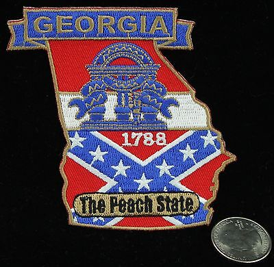 Georgia The Peach State Flag Embroidered Patch Travel Souvenir