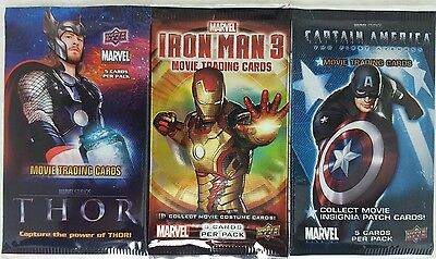 MARVEL Sealed Trading card Packs x 4 THOR - CAPT AMERICA - IRON MAN  - GUARDIANS