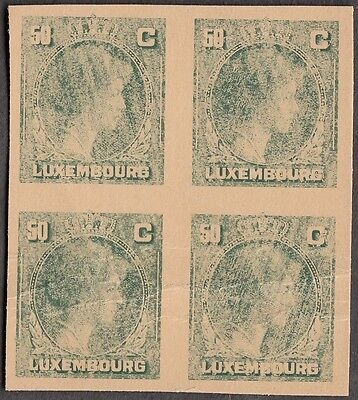 LUXEMBOURG 1944 CHARLOTTE 50c GREEN RARE COLOUR TRIAL IMPERF BLOCK OF 4