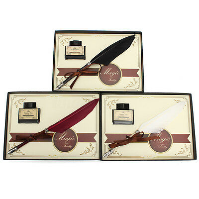 3 Colors Feather Quill Metal Nib Brown Dip Pen Writing Ink Set With Box Gift