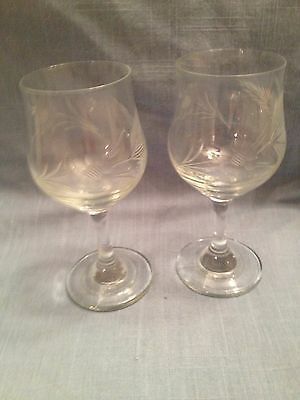 Vintage pair of pretty etched wine glasses