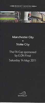 2011 Menu FA Cup Final Man City v Stoke Card issue from Wembley Superb Rare