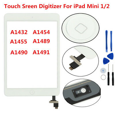 Touch Screen Glass Digitizer Replacement+ IC Chip+ Home Button for iPad Mini 1 2