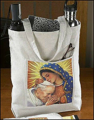 Our Lady of Guadalupe John Paul II Devotional Religious Women Lady Hand Tote Bag
