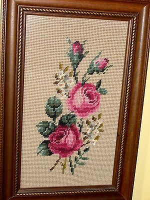 VINTAGE COMPLETED ART NEEDLEPOINT Pink Roses, White Daises Bouquet as STILL LIFE
