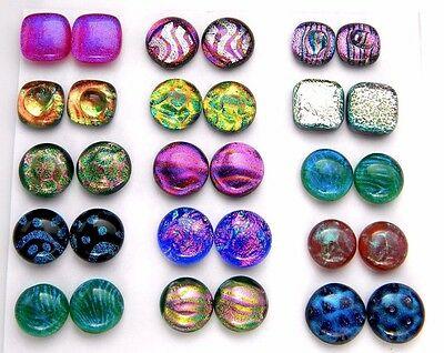 Lot 30pcs round square handmade DICHROIC earrings FUSED GLASS (BK4) CABOCHON