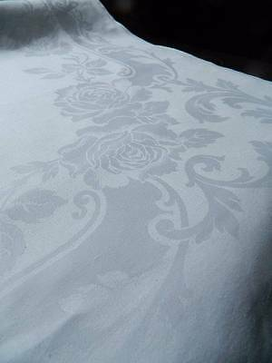 "Huge 10ft antique banquet Irish linen damask tablecloth - Roses & Scrolls 124"" L"