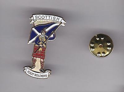 """Scotland """" Scottish Foot Soldier """" lapel badge butterfly fitting"""