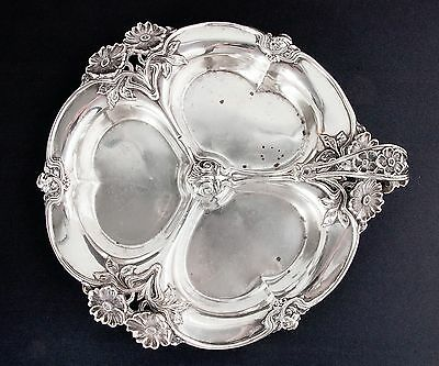 Unique Lebkuecher & Co. 1896 Poppy Design Sterling Silver Relish Tray