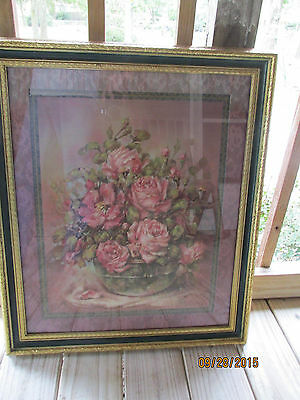 "1990 Homco  23x28  ""Home Interiors"" Framed & Matted "" Roses"" Julia Crainer"