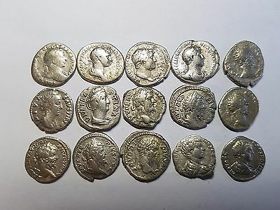 Ancient Roman  Coins -Lot Of Fifteen Roman Silver  Denarius