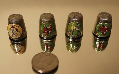 Vintage Norman Rockwell Set Of 4 Silver Thimbles Christmas 1982-84--85 Newlyweds