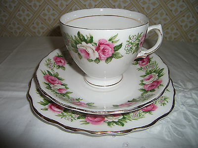 COLCLOUGH 'ENCHANTMENT' BONE CHINA TEA TRIOS: CUP SAUCER & (Square)  TEA PLATE