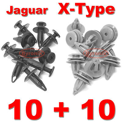 JAGUAR X-Type SIDE SKIRT SILL LOWER MOULDING PLASTIC TRIM CLIPS SET X20 EXTERIOR