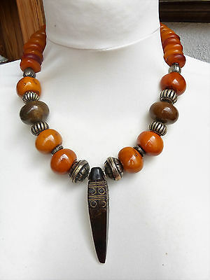Chinese carved stone Cong pendant Natural Tibetan Amber Resin Beads Necklace