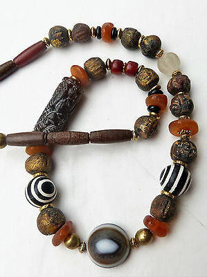 Antique Chinese Goat's Eye Agate Dzi Bead Necklace w. Baltic Amber & Dragon Bead