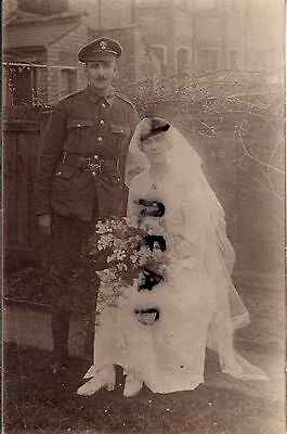 WW1 soldier HAC Honourable Artillery Company & Bride  Wedding Day Wood Green