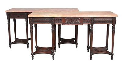 Pair Of Early 20Th Century Carved Mahogany Marble Top Console Tables