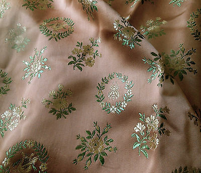 Antique Vtg. French Napoleon Bee Laurel Leaf Satin Brocade Fabric ~ Rose Green