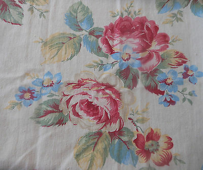 Antique English Shabby Cottage Roses Cotton Fabric ~ Pink Red Yellow Blue Green