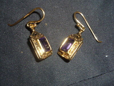 Lovely 9Ct Yellow Gold With Amethyst Rectangular Drop Earrings.
