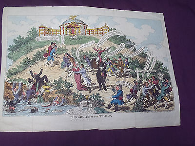 """Water Colour Cartoon """"The Genius Of The Times""""   1812   Town Talk"""