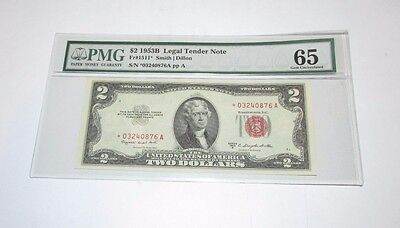 $2 Red Seal US Note  **STAR** Note 1953 B Gem Uncirculated PMG.......20319