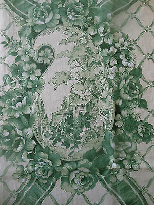 Antique Vtg. French Cottages Cameo Roses Ribbon Floral Cotton Fabric ~ Green