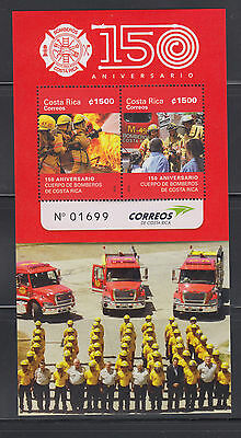 Costa Rica 2015 Firefighters Sheet Complete Mint Never Hinged