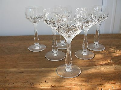 6 Stuart Crystal Glengarry Pattern Tall Wine (Hock) Glasses