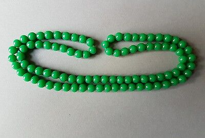 """Vintage Green Glass Bead Necklace 28"""""""