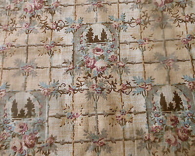 Antique Roses Cottages Camps Cotton Fabric ~ Rose Pink Tan Gray Brown Blue