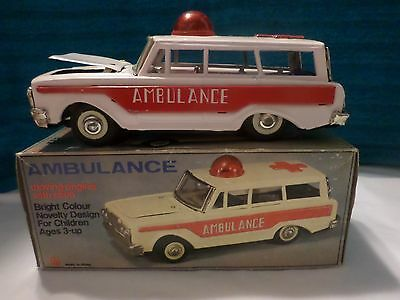"""Ambulance In Box Made In China Runs On Friction 8"""" Long 2 3/4 Wide Red Bubble"""