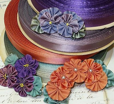 "4y 1/2"" VTG OMBRE RAYON RIBBON 4 COLORS TRIM ROSETTE DOLL DRESS HAT FLOWER WORK"