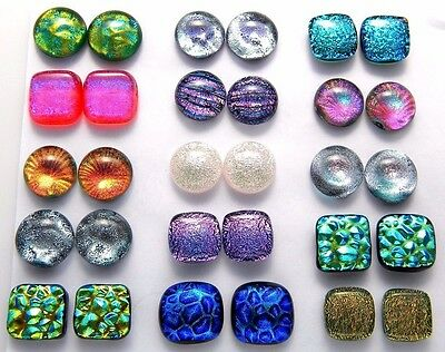 Lot 30 pcs round square handmade DICHROIC earrings FUSED GLASS (B3) CABOCHON