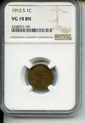 1912-S Lincoln Wheat Cent VG 10BN NGC Key Date!!!