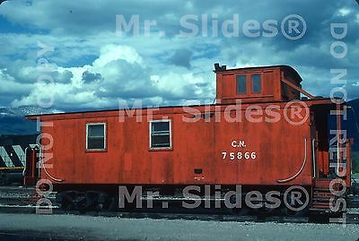 Original Slide CN Canadian National Wood Caboose 75866 Jasper AB 1984