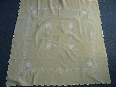 Vintage Mellow Yellow Linen Embroidered Tablecloth
