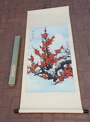 Old Chinese Watercolor On Paper Scroll Painting -Signed